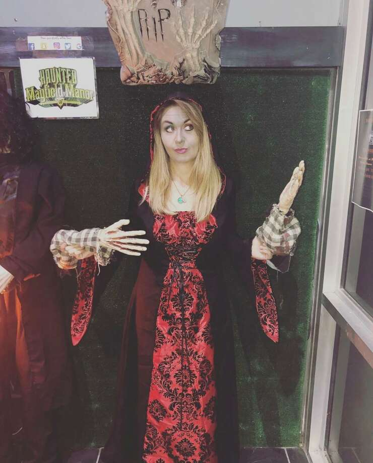 Katy author Sara Harris has 25 published books and once a month signs them (usually in costume) at Haunted Mayfield Manor in Galveston. Photo: Courtesy By Michaela Swann