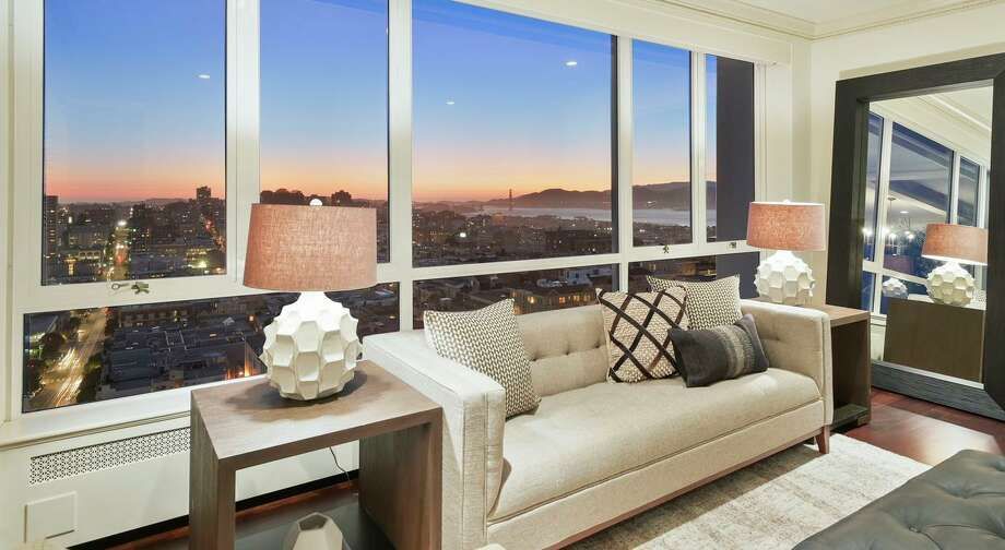 San Francisco Bay, the Marin Headlands and the Golden Gate Bridge are visible from this bedroom at 1200 California St., Unit 12D in Nob Hill. Photo: Daniel Lunghi / Lunghi Media Group