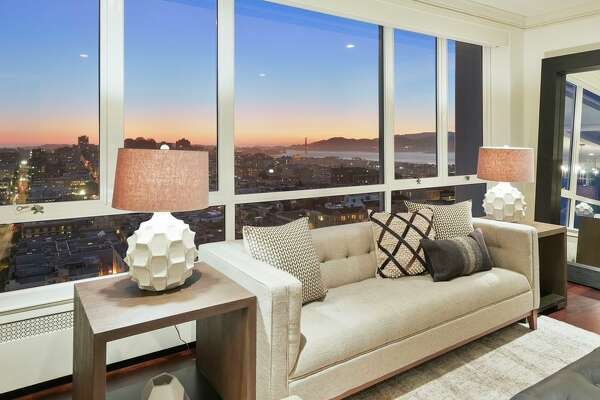 San Francisco Bay, the Marin Headlands and the Golden Gate Bridge are visible from this bedroom at 1200 California St., Unit 12D in Nob Hill.