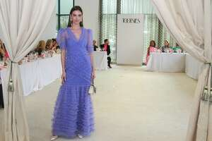 Alice McCall dress ($750), Oscar de la Renta handbag ($2,290) and Jennifer Behr earrings ($395) for Bayou Bend Garden Party.
