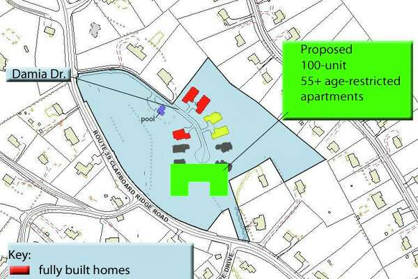 This tax map shows a 15-acre property where developer Dan Bertram would propose a 100-unit age-restricted apartment building for people 55 years old and older, should Danbury pass a zoning amendment he has requested.