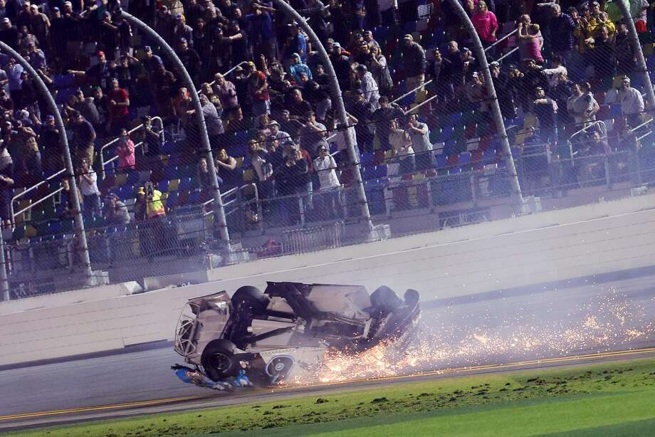 Ryan Newman's car flips after he crashed last Monday at the Daytona 500. The details of Newman's injuries have not been released, but his streak of 649 races will end Sunday. Photo: Chris Graythen / Getty Images / TNS