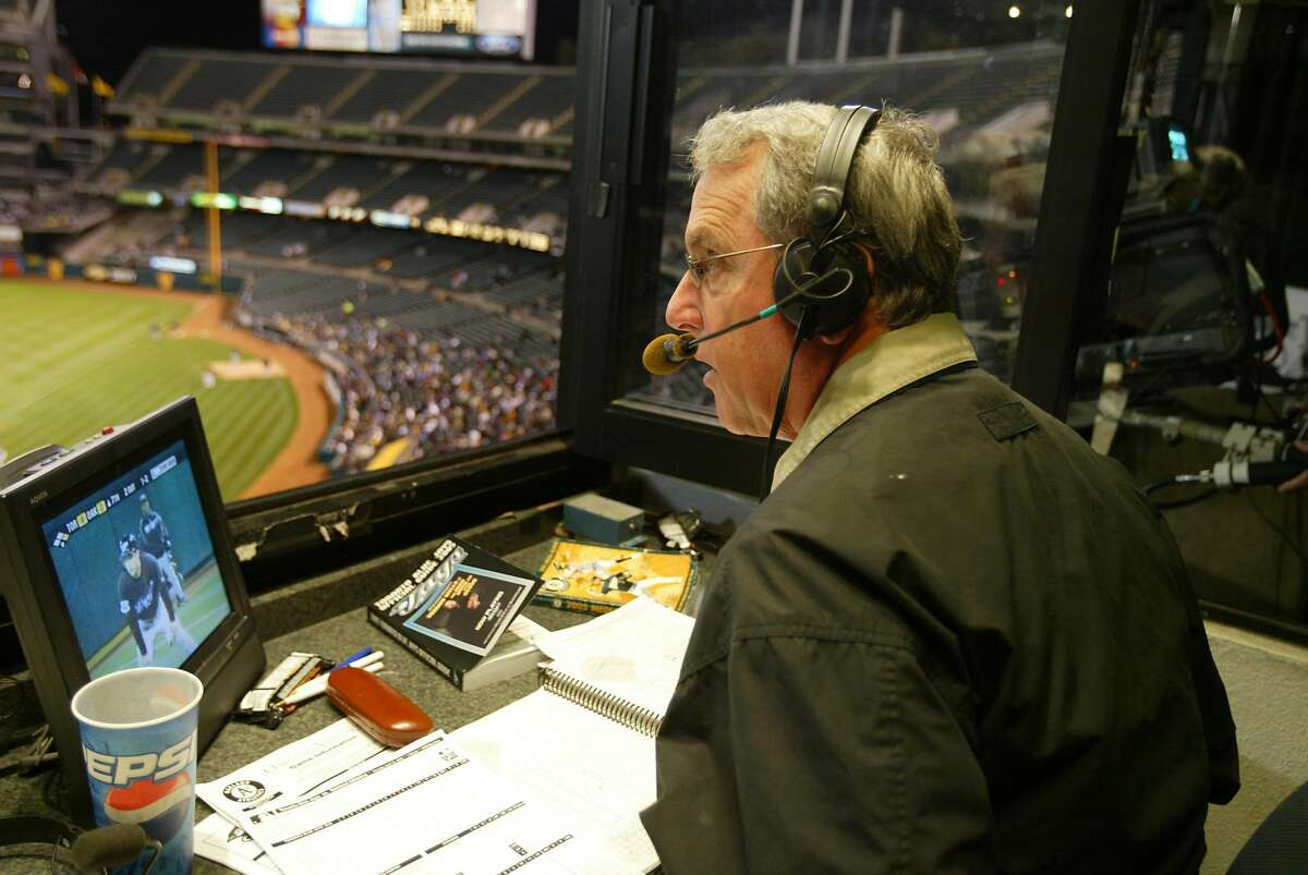 OAKLAND, CA - APRIL 12: Team Announcer Ken Korach of the Oakland Athletics during the game against the Toronto Blue Jays at McAfee Coliseum on April 12, 2005 in Oakland, California. The Blue Jays defeated the A's 5-2. (Photo by Michael Zagaris /MLB Photos via Getty Images)