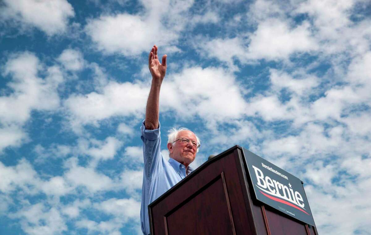 Democratic presidential candidate Bernie Sanders speaks to supporters during a campaign rally at Valley High School in Santa Ana, Calif., on Friday, Feb. 21, 2020.