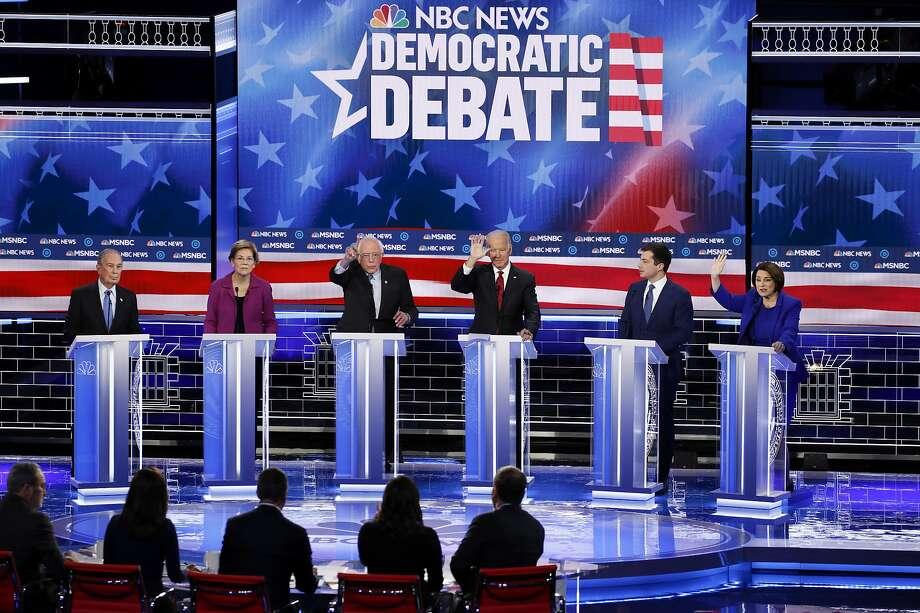 Democratic presidential candidates participate in a Democratic presidential primary debate in Las Vegas on February 19, 2020. Photo: John Locher / Associated Press