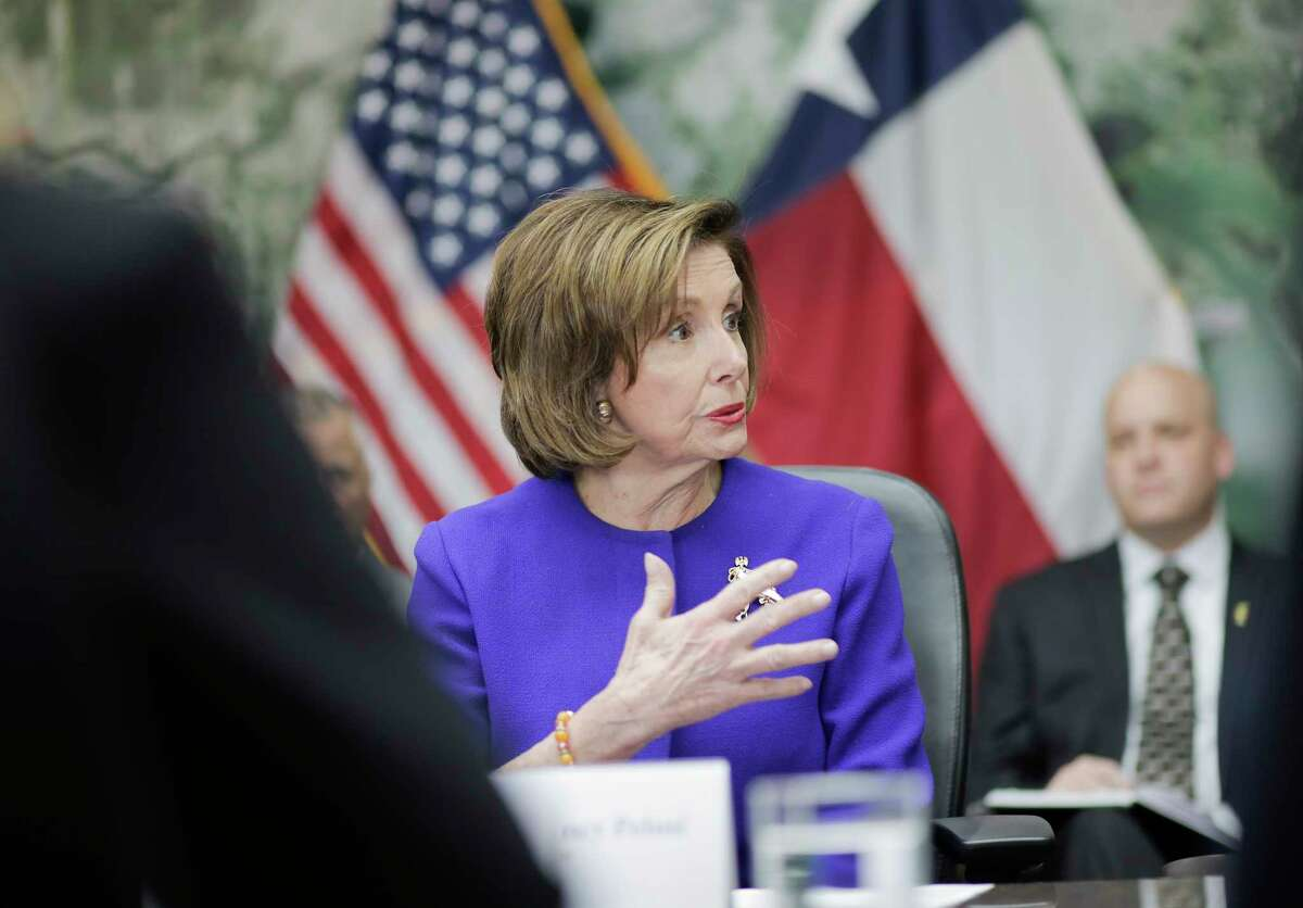 U.S. Speaker of the House Nancy Pelosi speaks during a round-table discussion on the Houston Port at the Houston Port Authority on Friday, Feb. 21, 2020.