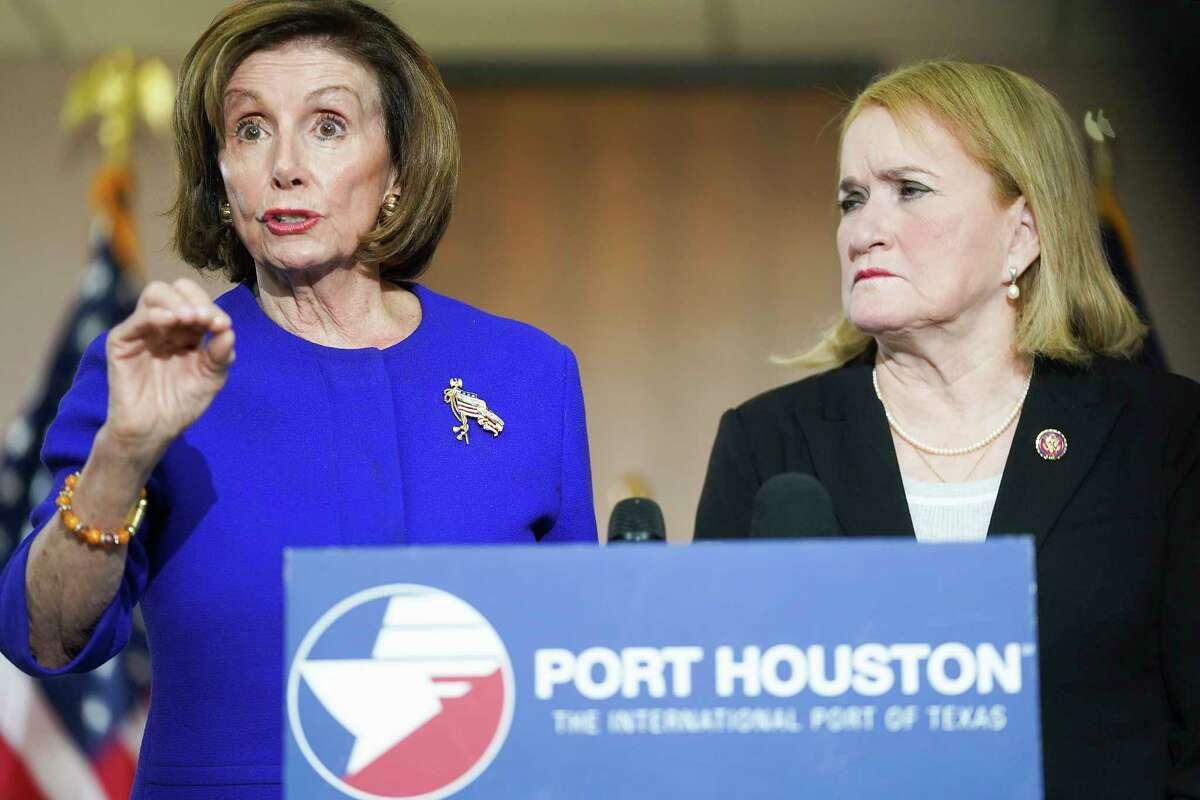 U.S. House of Rep. Speaker Nancy Pelosi and Congresswoman Sylvia Garcia talk to the media at the Houston Port Authority on Friday, Feb. 21, 2020.