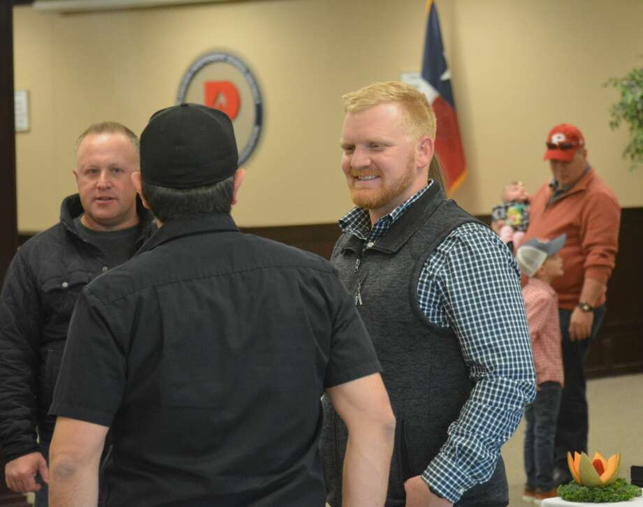 Johnathon Haddock greets community members during a meet and greet event Friday afternoon. Photo: Nathan Giese/Plainview Herald
