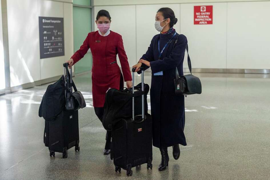 Flight attendants at the San Francisco International Airport.