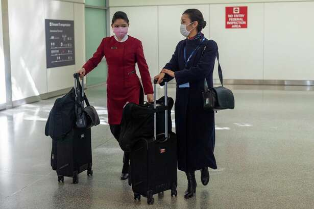 Flight attendants at the San Francisco International Airport.