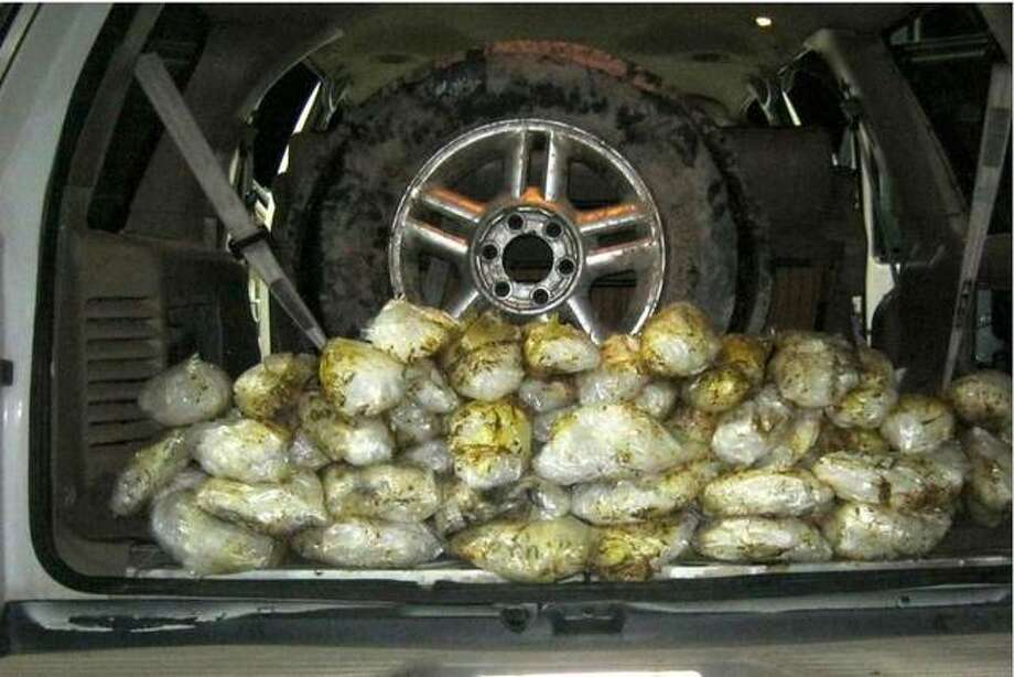 Pictured is 70 pounds of methamphetamine seized at a U.S. Border Patrol checkpoint in October, 2019. Photo: U.S. Border Patrol San Diego Via AP