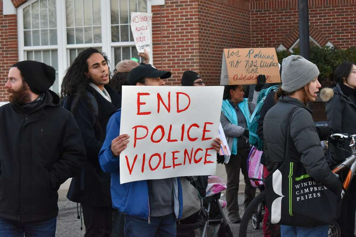 Family, friends and supporters of Mubarak Soulemane, shot and killed by state police Jan. 15, rallied in West Haven.