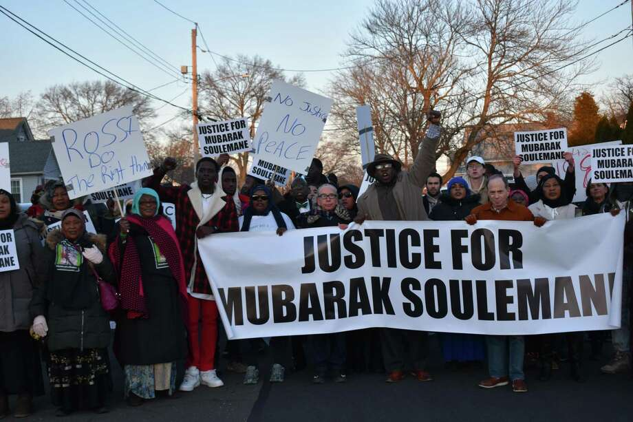 Family, friends and supporters of Mubarak Soulemane, shot and killed by state police Jan. 15, rallied for justice in West Haven. Photo: Ben Lambert / Hearst Connecticut Media /