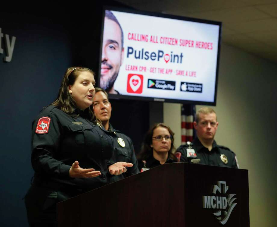 Ashton Herring, community outreach coordinator with Montgomery County Hospital District, speaks during a press conference announcing the availability of the PulsePoint Respond app at the Montgomery County Hospital District, Friday, Feb. 21, 2020, in Conroe. The app, which is activated by MCHD's 911 dispatch center coordinating with first responders, alerts CPR-trained individuals to someone nearby having a sudden cardiac arrest that may require CPR. Photo: Jason Fochtman, Houston Chronicle / Staff Photographer / Houston Chronicle © 2020