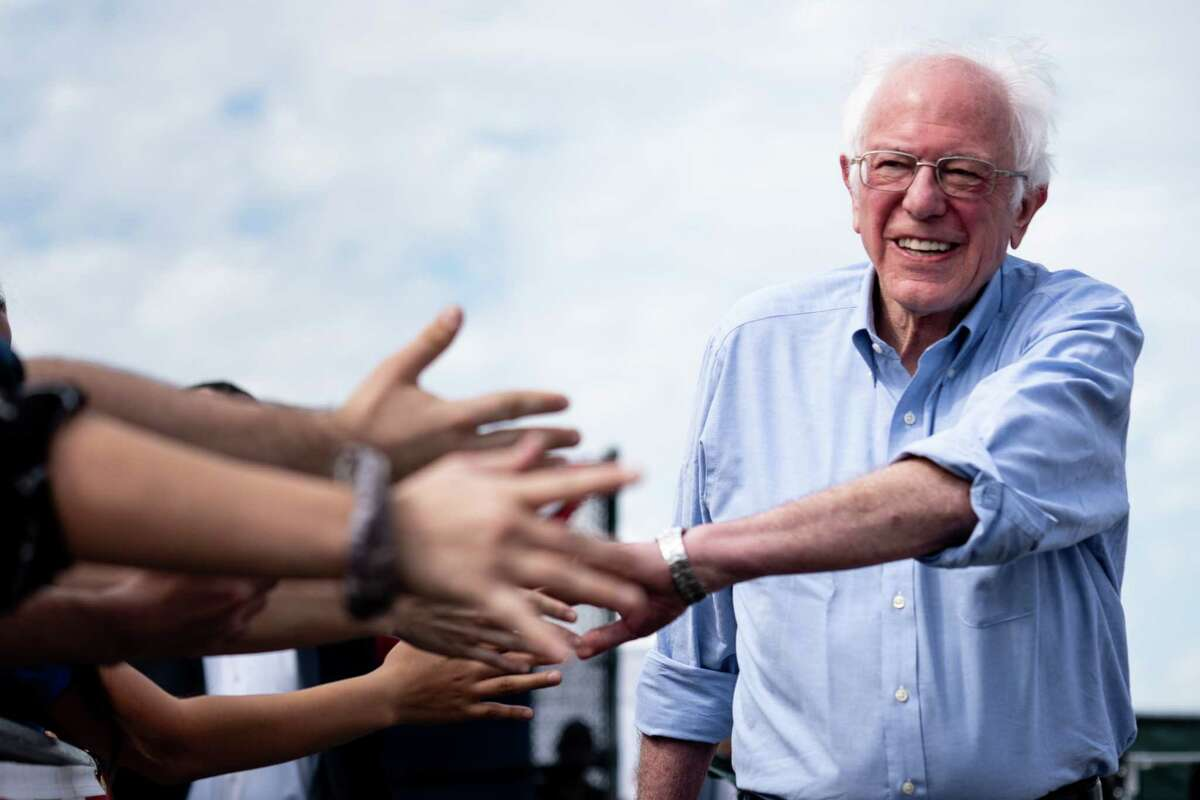 Sen. Bernie Sanders (I-Vt.), a candidate for the Democratic nomination for president, campaigns at Valley High School in Santa Ana, Calif., Friday, Feb. 21, 2020. The California primary is scheduled for March 3. (Erin Schaff/The New York Times)