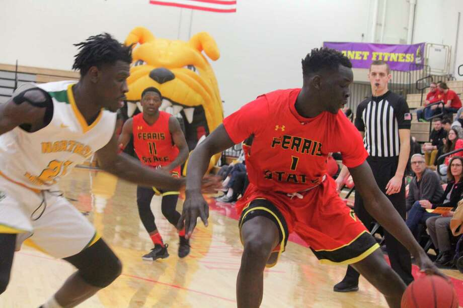 Deng Reng (1) and his Ferris teammates will seek to clinch the GLIAC title outright today. (Pioneer photo file)
