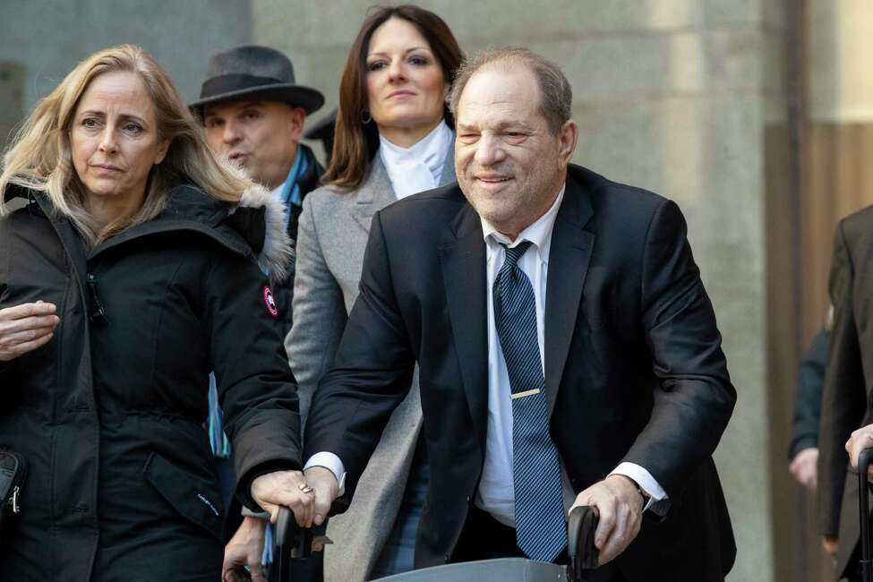 Harvey Weinstein leaves the courthouse during jury deliberations in his rape trial, Friday, Feb. 21, 2020, in New York. ( (AP Photo/Mary Altaffer)