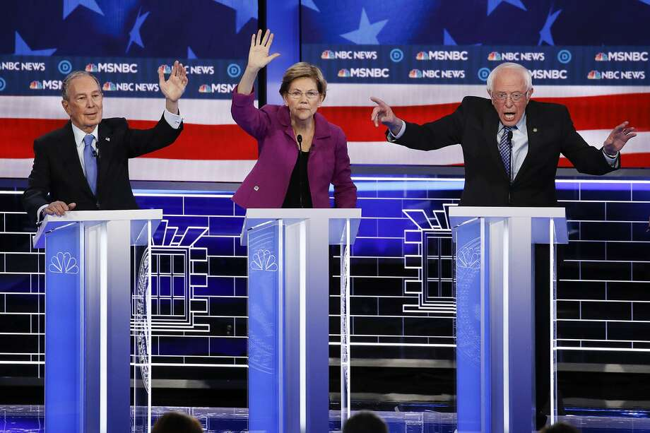 From left, Democratic presidential candidates, former New York City Mayor Mike Bloomberg, Sen. Elizabeth Warren, D-Mass.; and Sen. Bernie Sanders, I-Vt., participate in a Democratic presidential primary debate Wednesday, Feb. 19, 2020, in Las Vegas. Seven casino-resorts are among 200 caucus locations statewide that will host the presidential caucuses on Saturday. Photo: John Locher, Associated Press