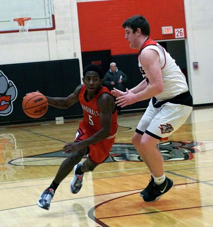 Big Rapids sophomore Demarcus Lee drives the lane during BR's 56-53 victory over Reed City on Friday night in Reed City. (Pioneer photo/Joe Judd)