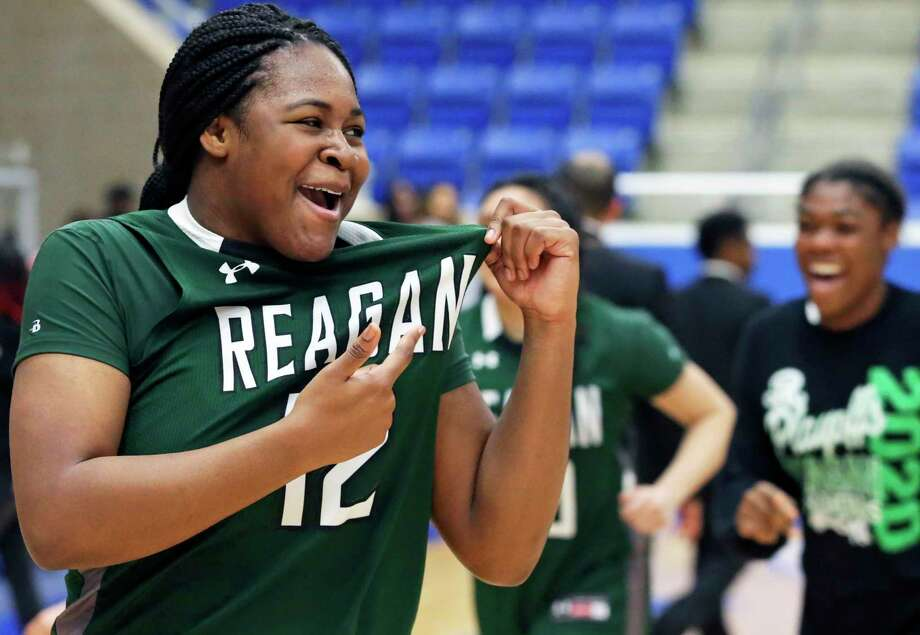 Rattler forward Christeen Iwuala celebrates the victory as Steele plays Reagan and Wagner plays Sam Houston in a girls basketball playoff double header at Northside Gym on Feb. 21, 2020. Photo: Tom Reel, San Antonio Express-News / Staff Photographer / **MANDATORY CREDIT FOR PHOTOG AND  SAN ANTONIO EXPRESS-NEWS/NO SALES/MAGS OUT/TV