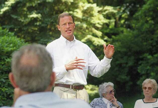 Attorney General Richard Blumenthal giving a speech at a Greenwich Democratic Women's Club pool party at the home of Edith Fehr on Round Hill Road, in Greenwich, Conn. June 28, 1998. Photo: Helen Neafsey / Greenwich Time