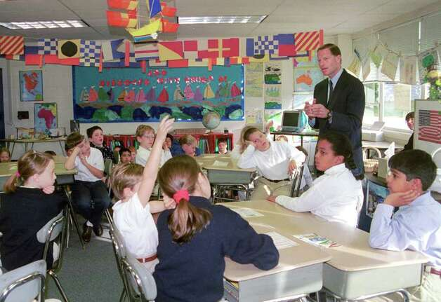 Richard Blumenthal at K&LHT school Oct. 10th, 2000. Photo: File Photo / Stamford Advocate File Photo