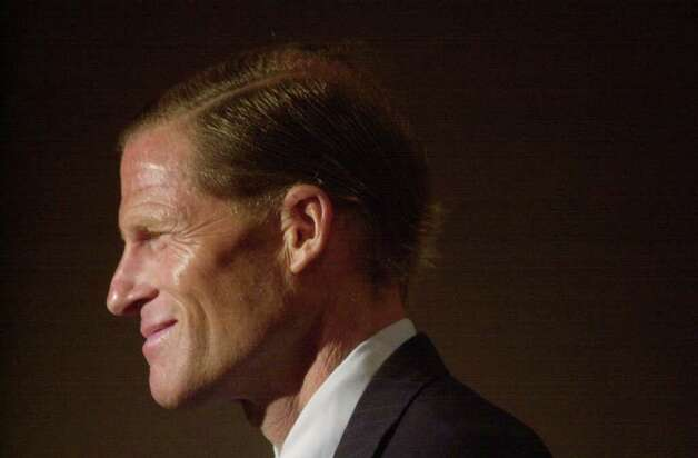 Richard Blumenthal announces at Norwalk City hall that he'll seek another term July 9th, 2002. Photo: File Photo / Stamford Advocate File Photo
