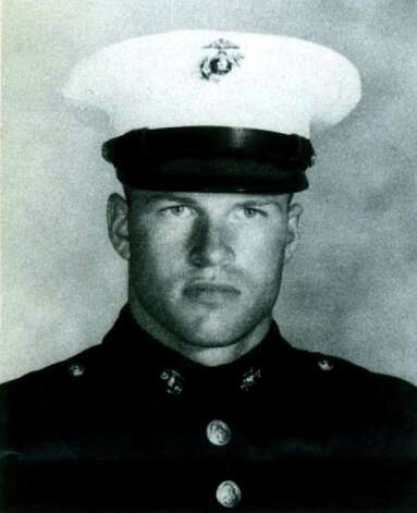 "Richard Blumenthal as a Marine Reservist. Richard Blumenthal used this image in campaign literature he distributed during his first campaign for Connecticut Attorney General in 1990, under the banner ""Job Training Û Marine Style"" Photo: Contributed Photo / Stamford Advocate Contributed"