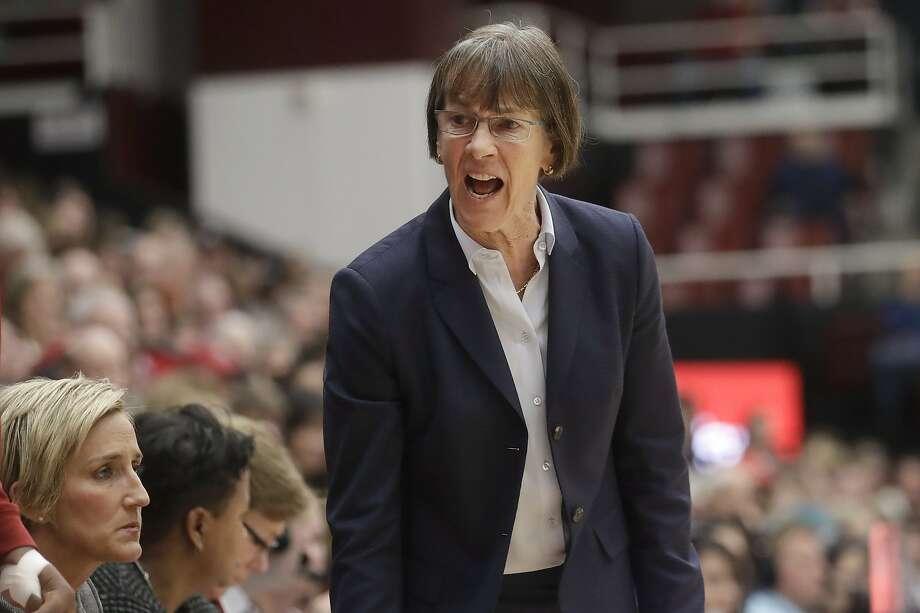 Stanford head coach Tara VanDerveer exhorts her players against Oregon State. Photo: Jeff Chiu / Associated Press