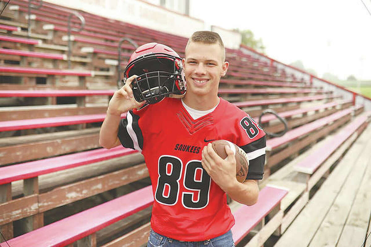 Cody M. Walston wears his Saukees football jersey. He also played basketball at Pittsfield High School.