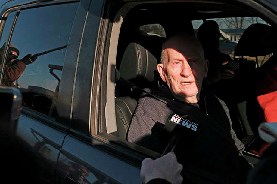 Chester Weger takes questions from the media after being released from the Pickneyville Correctional Center on Friday. Weger was released from prison nearly six decades after sentenced to life for the killing of one of three women whose brutalized bodies were found in a state park. Weger was granted parole in November on his 24th try. Photo: Isaac Smith | Chicago Tribune (AP)