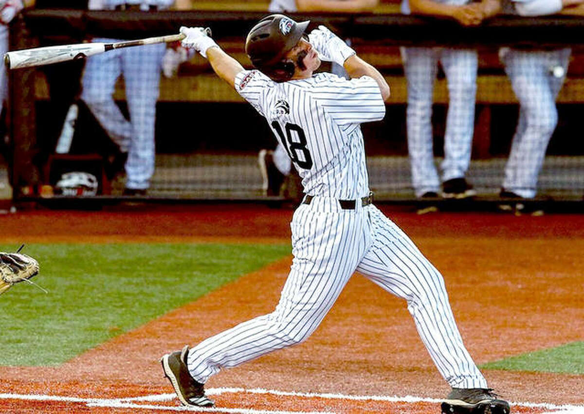 SIUE's Justin Perkins has a sacrifice fly to drive in the Cougars only run in Friday's 2-1 loss to Stephen F. Austin in Nacodoches, Texas