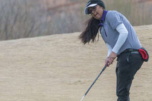 Midland High's Anaya Perales follows her putt 02/22/2020 during the second round of the Tall City Girls Golf Invitational at Hogan Park Golf Course. Tim Fischer/Reporter-Telegram