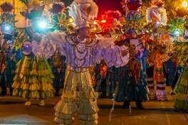 Day 2 of Mardi Gras in Southeast Texas lit up the night with the Krewe of Krewes Parade through downtown Beaumont, rides, food, music and fun on Friday, February 21, 2020. Fran Ruchalski/The Enterprise