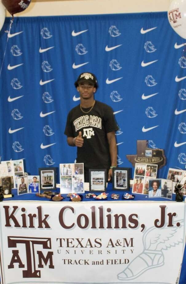 Clear Springs' state champion hurdler Kirk Collins has signed a national track and field letter of intent with Texas A&M University. Photo: Submitted Photo