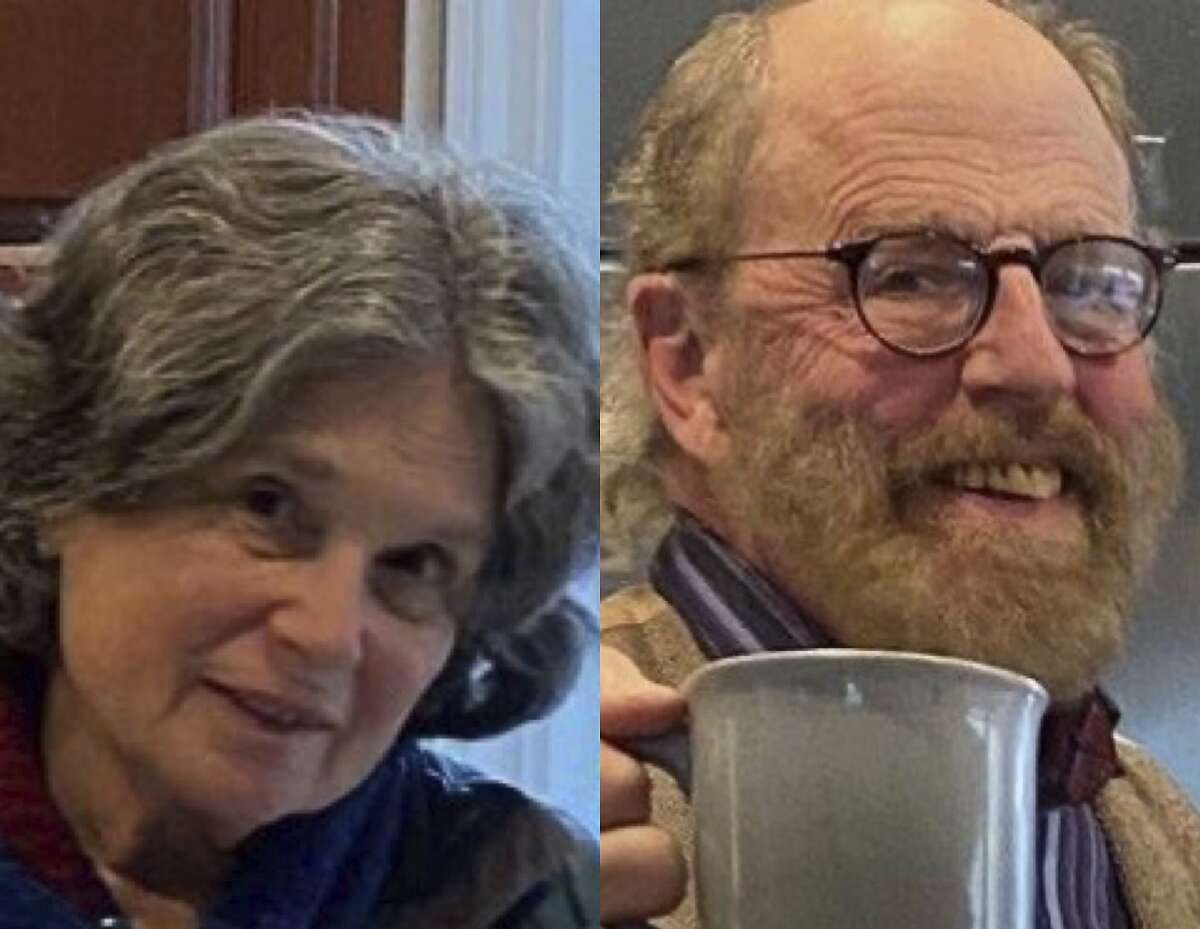 In these undated photos released by the Marin County Sheriff's Office are Carol Kiparsky and Ian Irwin. Authorities are searching for an academic couple in their seventies who vanished during a getaway in the woods of Northern California. Carol Kiparsky and Ian Irwin were last seen Friday, Feb. 14, 2020, at a vacation cottage near Inverness. They never checked out Saturday as planned and failed to show up for an appointment the following day. When housekeepers went to the cottage to clean up, they found the couple's phones and wallets. Their vehicle was parked outside. Investigators say foul play is not suspected. (Marin County Sheriff's Office via AP)