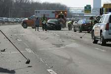 Emergency responders at the scene of a crash Saturday, Feb. 22, 2020, along I-787 between Menands and Watervliet.