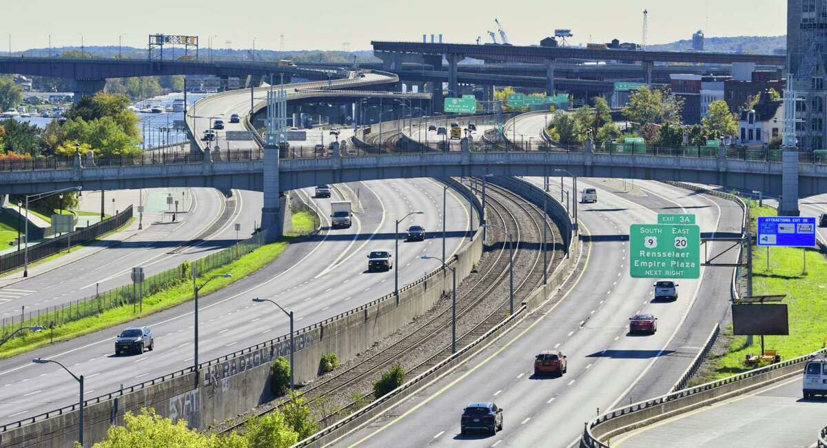 A view of Interstate 787, looking south from the top of the Quackenbush Garage in Albany, N.Y. (Paul Buckowski/Times Union)