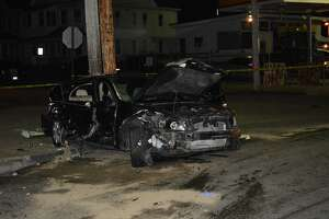 The Honda after an accident early on Saturday, Feb. 22, 2020, in Bridgeport, Conn.