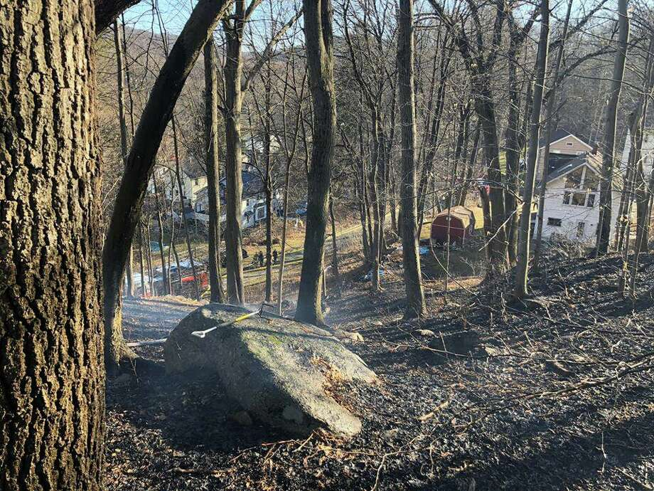 An image from the brush fire in Bethel, Conn., on Saturday, Feb. 22, 2020. Photo: Contributed Photo / Stony Hill Volunteer Fire Company