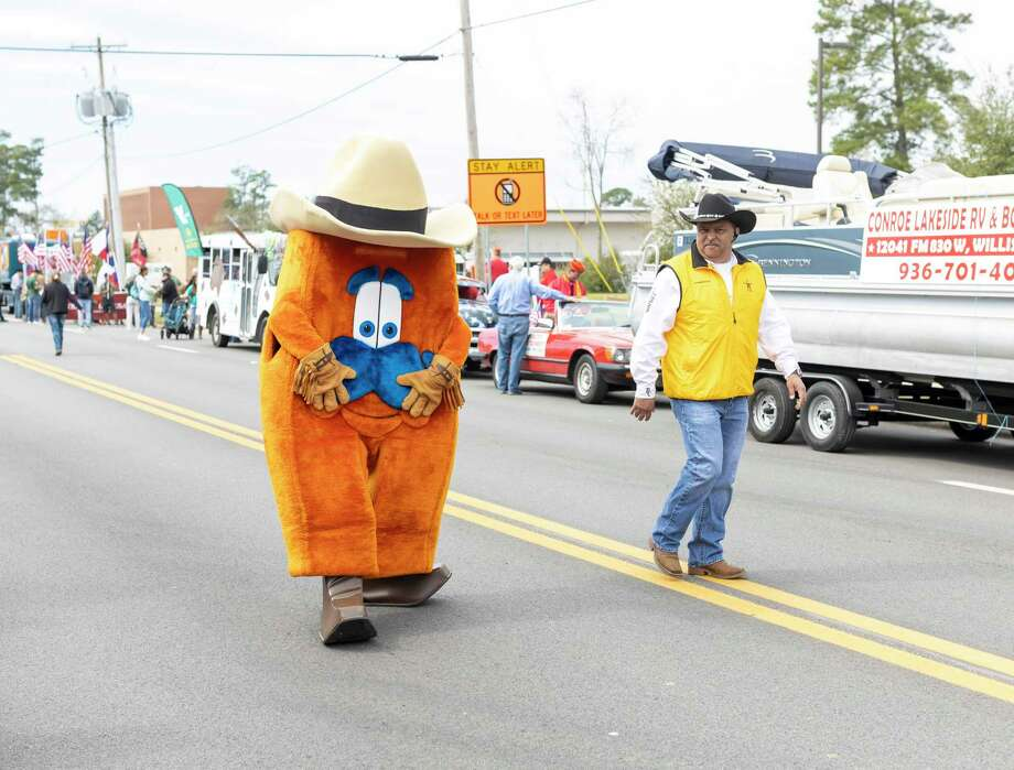 The Rodeo Houston mascot cheers on the parade participants at this year's Go Texan Parade in downtown Conroe, Saturday, Feb. 22, 2020. Photo: Gustavo Huerta, Houston Chronicle / Staff Photographer / Houston Chronicle © 2020