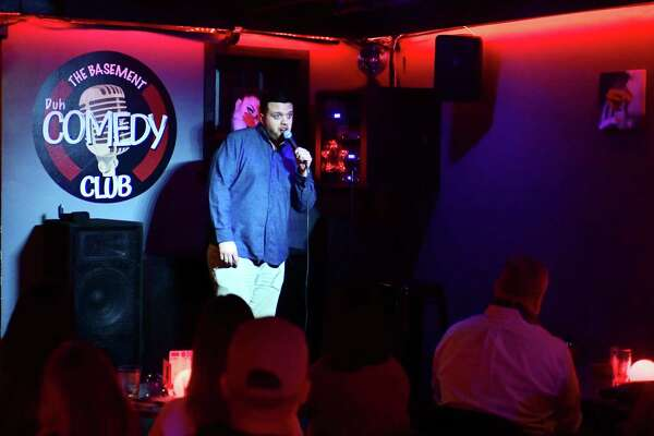 Beau McDowell performs at the Basement Comedy Club at Our House night club Saturday, February 14, 2020, in Norwalk, Conn. What started as a fledgling open mic upstairs in the bar on Wednesdays has become a well established draw for local and national comedians.