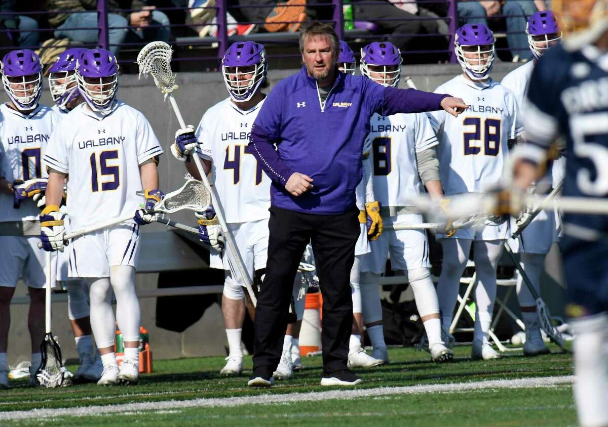University at Albany's head coach Scott Marr during an NCAA lacrosse game against Drexel Saturday, Feb. 22, 2020, in Albany, N.Y., Albany won 14-13.