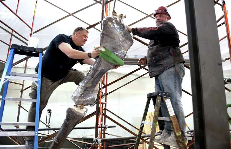 Matt Fair (left) and Brett Crawford of Research Casting International wrap the fossilized left humerus of a brontosaurus before removing the the section of leg in the Great Hall at the Yale Peabody Museum of Natural History in New Haven on February 19, 2020. The brontosaurus was discovered in Wyoming in 1879 and set up for display in 1931. The bones will be transported to Canada for cleaning, removing old plaster, rejoining bone sections and new armatures. Photo: Arnold Gold / Hearst Connecticut Media / New Haven Register