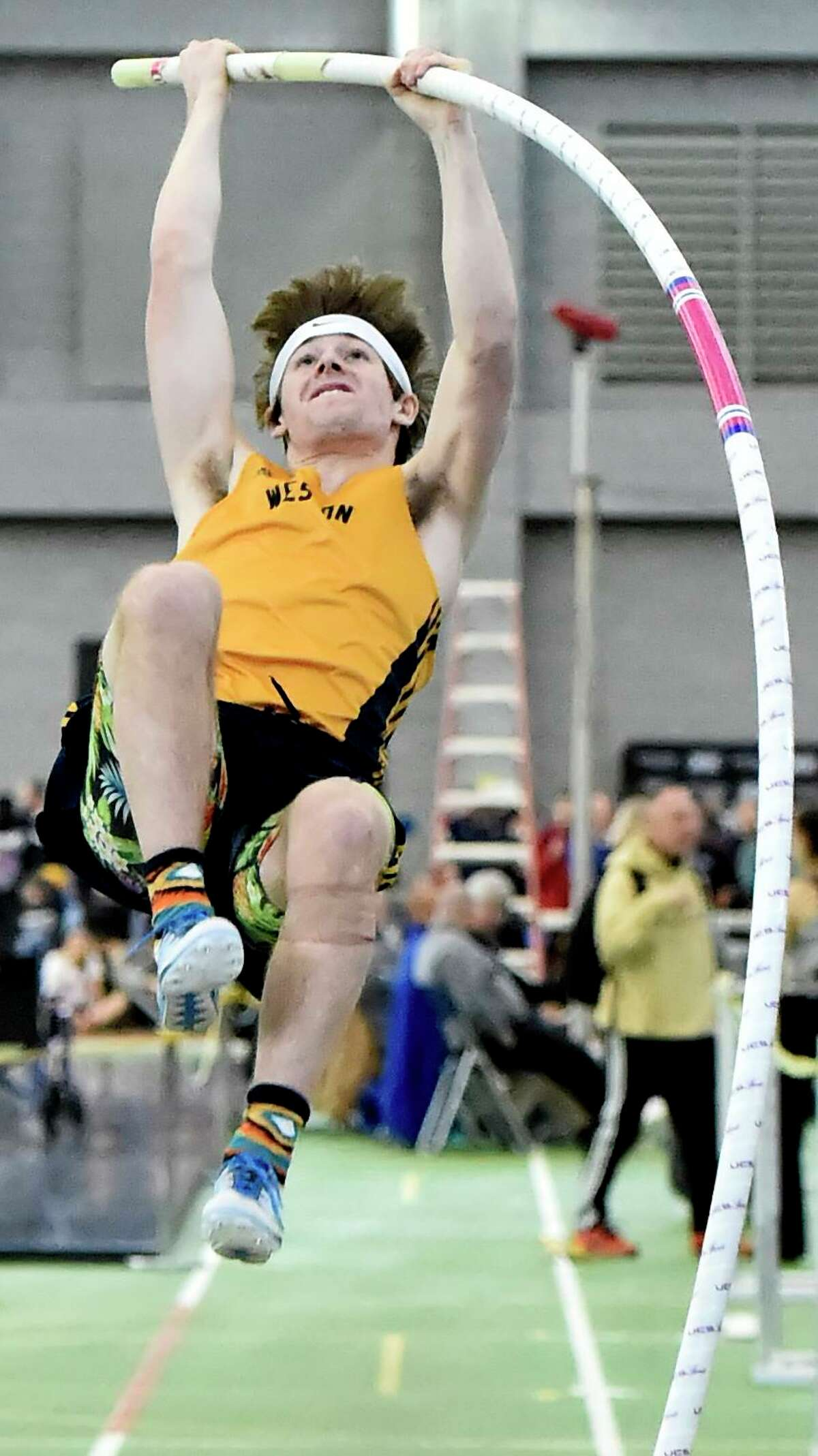 New Haven Connecticut - February 22, 2020: Matthew Bigelow of Weston H.S. wins the pole-vault during the CIAC State Open Indoor Track Championship Saturday at the Floyd Little Athletic Center in New Haven.
