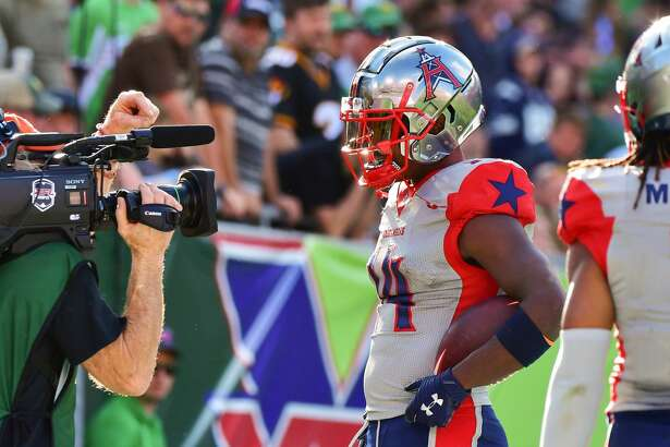 TAMPA, FLORIDA - FEBRUARY 22: Cam Phillips #14 of the Houston Roughnecks looks into the camera after scoring during the fourth quarter of a football game against the Tampa Bay Vipers at Raymond James Stadium on February 22, 2020 in Tampa, Florida. (Photo by Julio Aguilar/Getty Images)