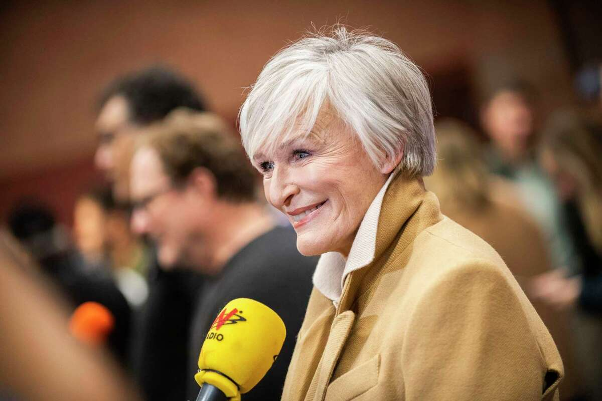 """Actress Glenn Close speaks to reporters at the premiere of """"Four Good Days"""" at the Eccles Theatre during the 2020 Sundance Film Festival on Jan. 25 in Park City, Utah."""