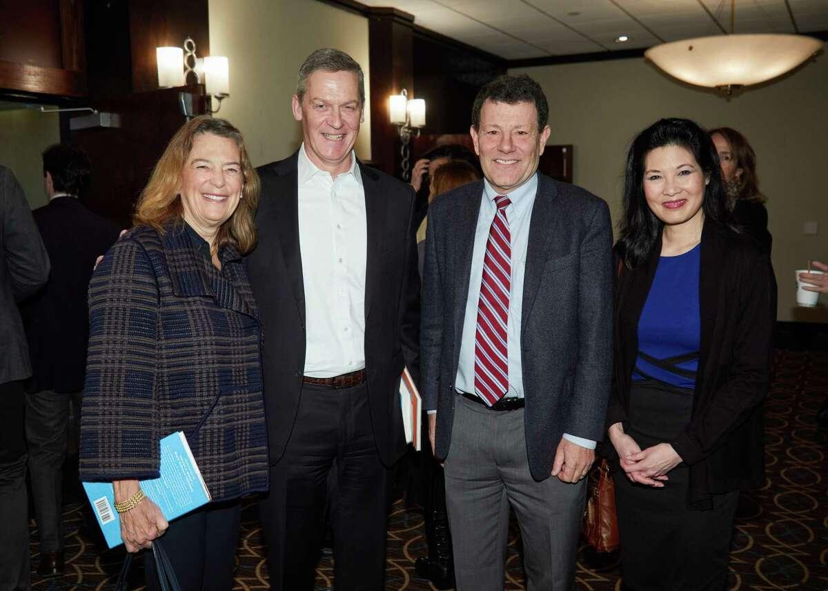 Mary Moran,John Driscoll, Nicholas Kristof and SherylWuDunn at Family Centers Titan Series Breakfast at the Stamford Sheraton last week.
