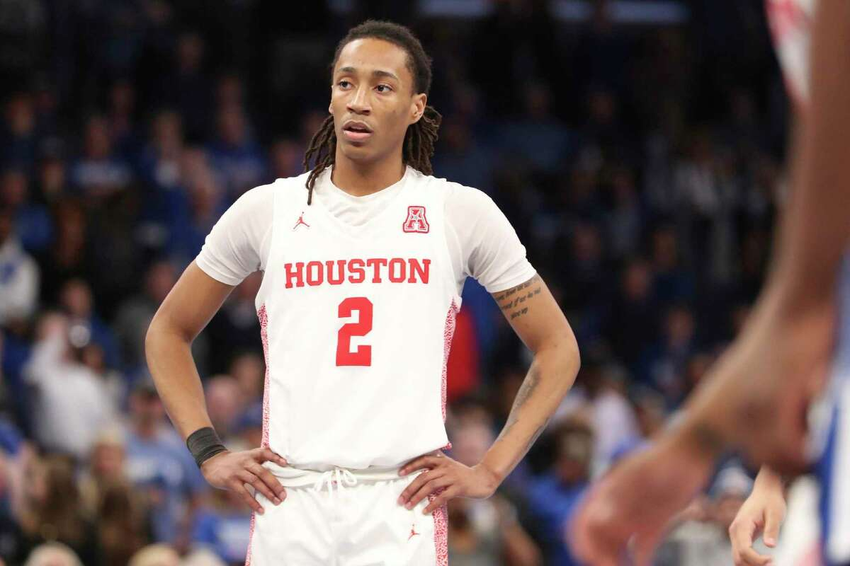Houstons guard Caleb Mills (2) pauses on the court in the second half of an NCAA college basketball game against Memphis Saturday, Feb. 22, 2020, in Memphis, Tenn. (AP Photo/Karen Pulfer Focht)
