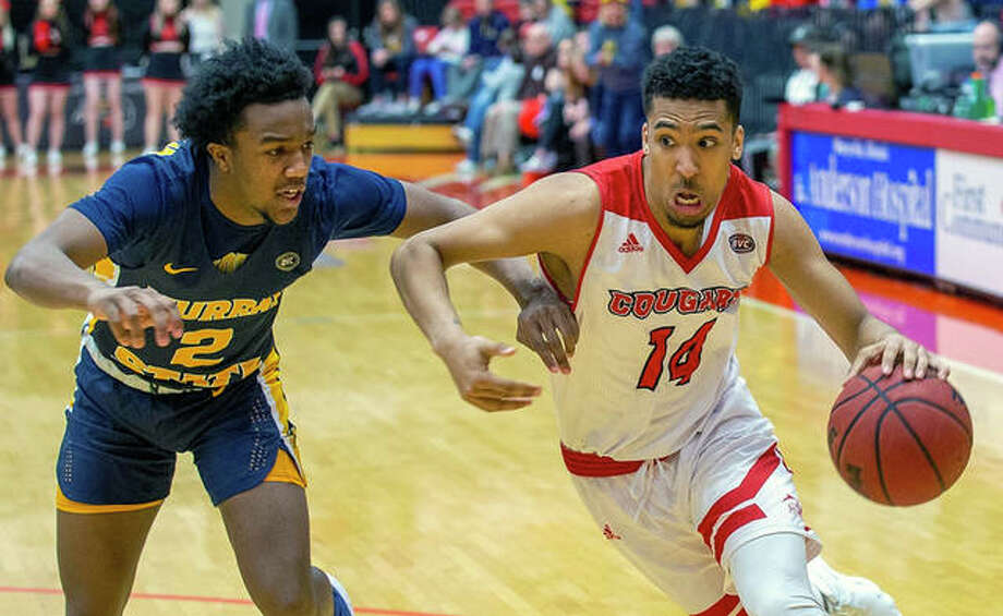 SIUE's Zeke Moore (14) drives against Chicago Carter Jr. of Murray State Saturday at the Vadalabene Center.Moore scored 10 points in SIUE's 59-58 loss. Photo: SIUE Athetics